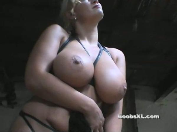 Blonde Milf Madleina In Her Kinky Leather Bathing Suit Exposing Her Huge Tits 49
