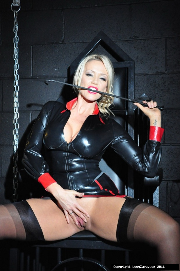 UK fetish model Lucy Zara in leather