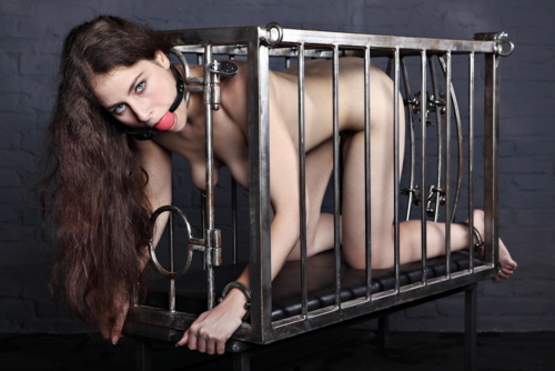 #gag #tied #cage