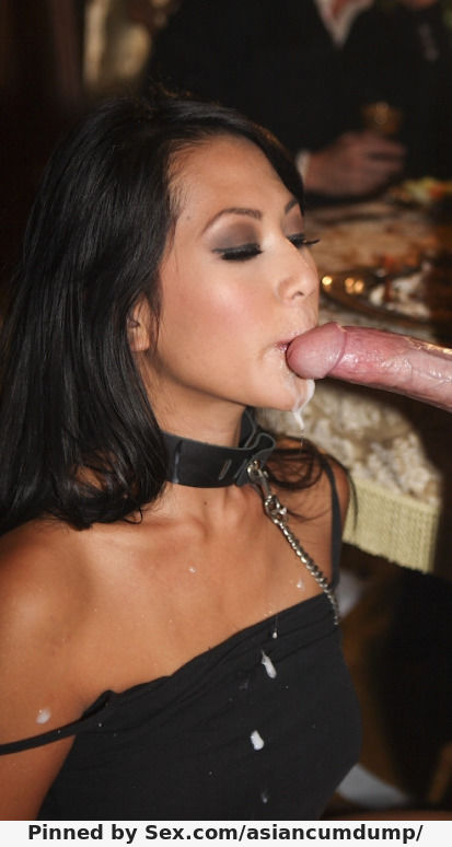 Elegant Asian with collar covered in cum after sucking white dick