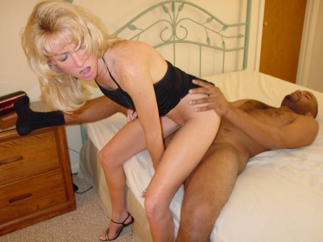 blonde slut riding black cock