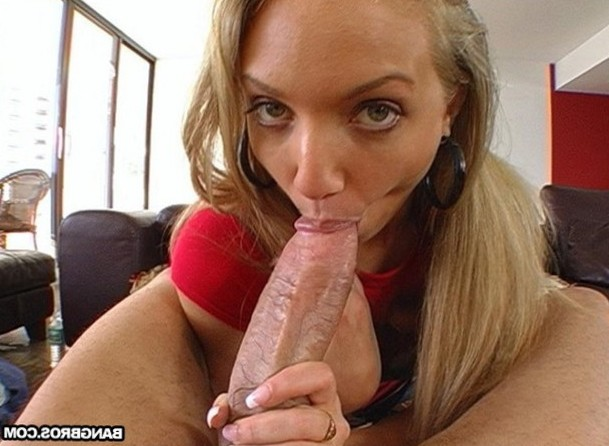 Hot blonde babe sucking a giant cock