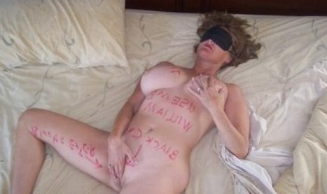 Big Titted Bleached Blonde Wife Writen on By Her Black Bull